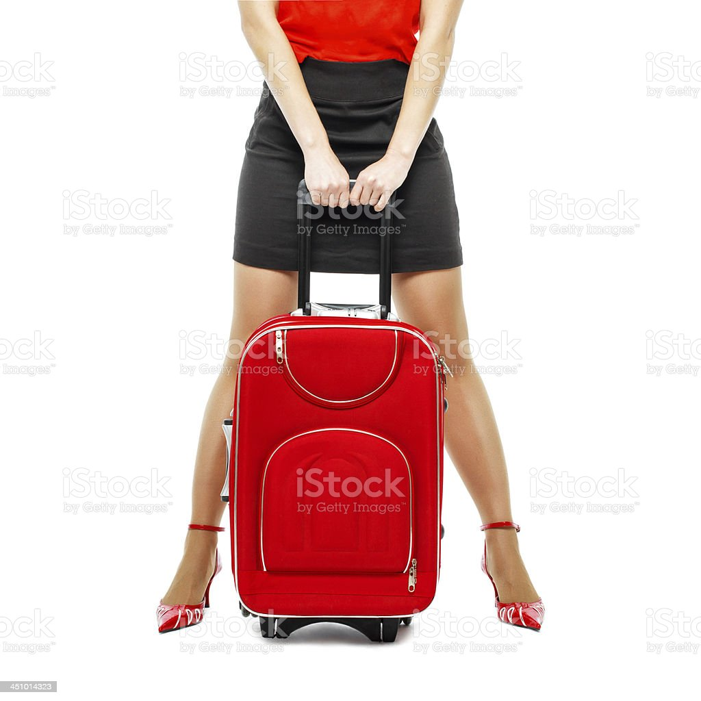 Businesswoman with suitcase royalty-free stock photo