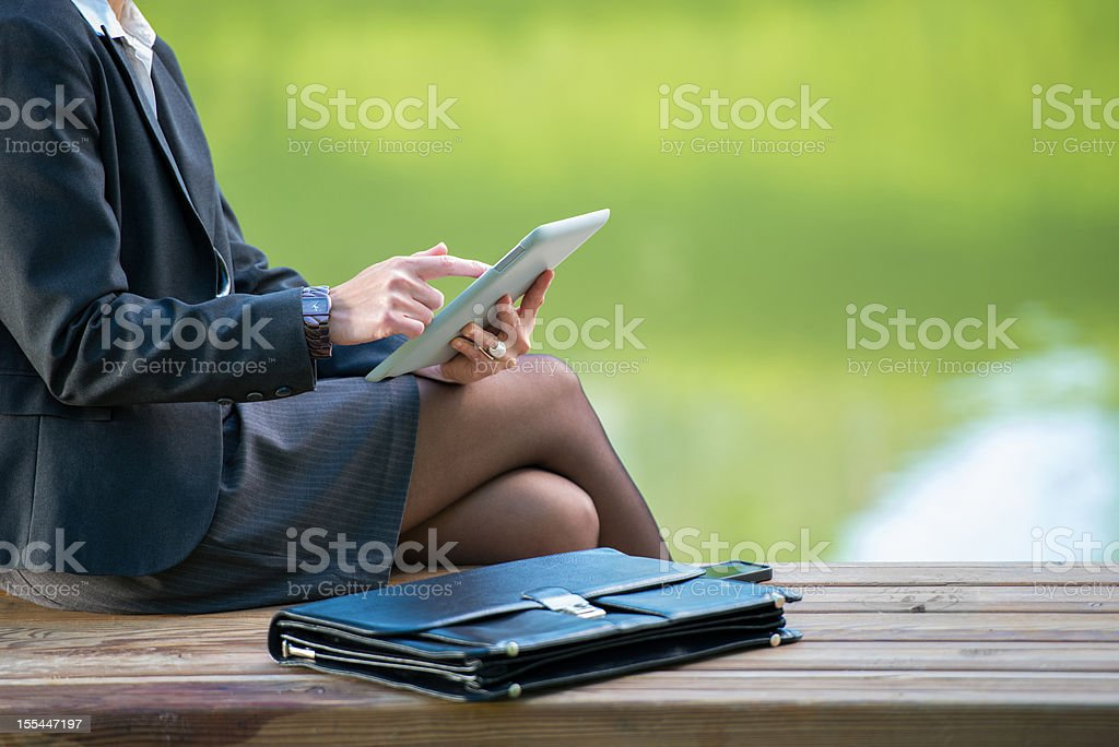 Businesswoman with tablet pc royalty-free stock photo