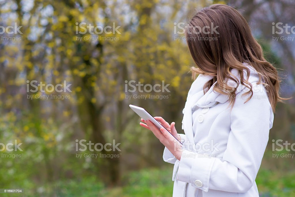 Businesswoman with tablet pc stock photo