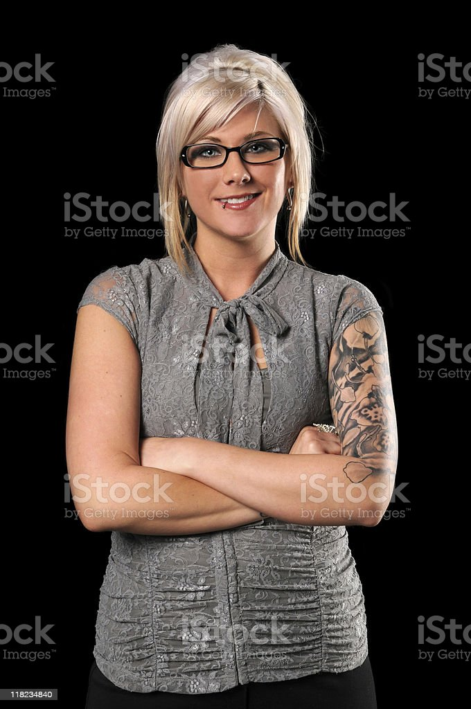 Businesswoman With Tattoos and Piercing stock photo