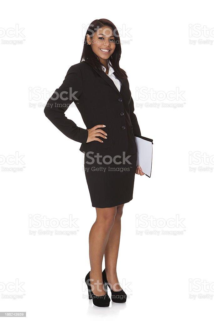 Empresaria con el archivo - foto de stock