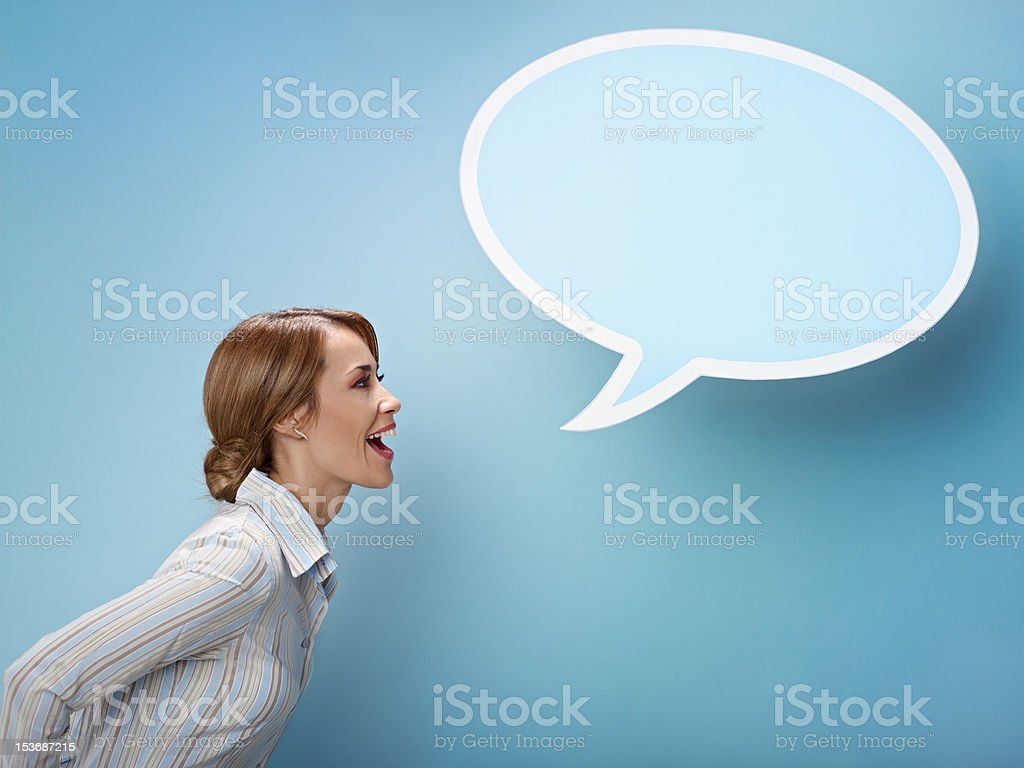 businesswoman with think balloon stock photo