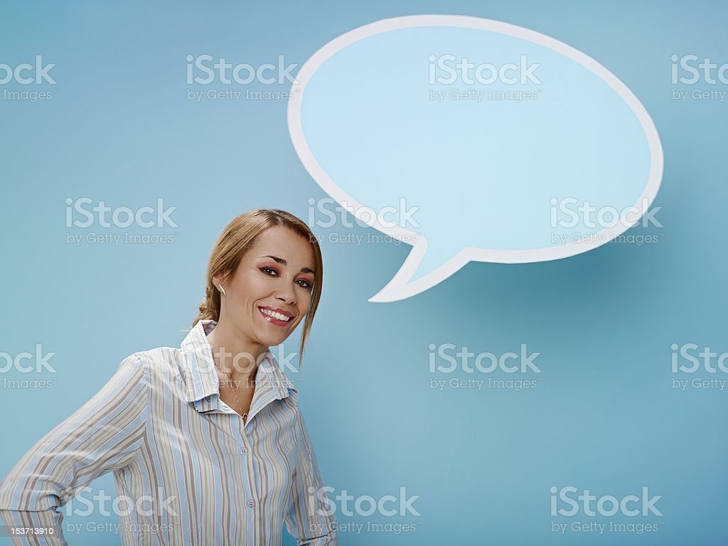 businesswoman with think balloon royalty-free stock photo