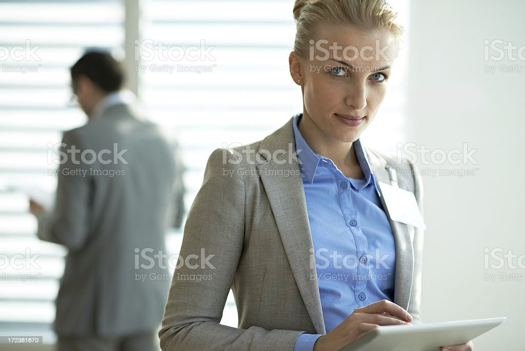 Businesswoman with touchpad royalty-free stock photo
