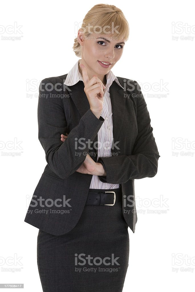 Businesswoman with tutorial gesture stock photo