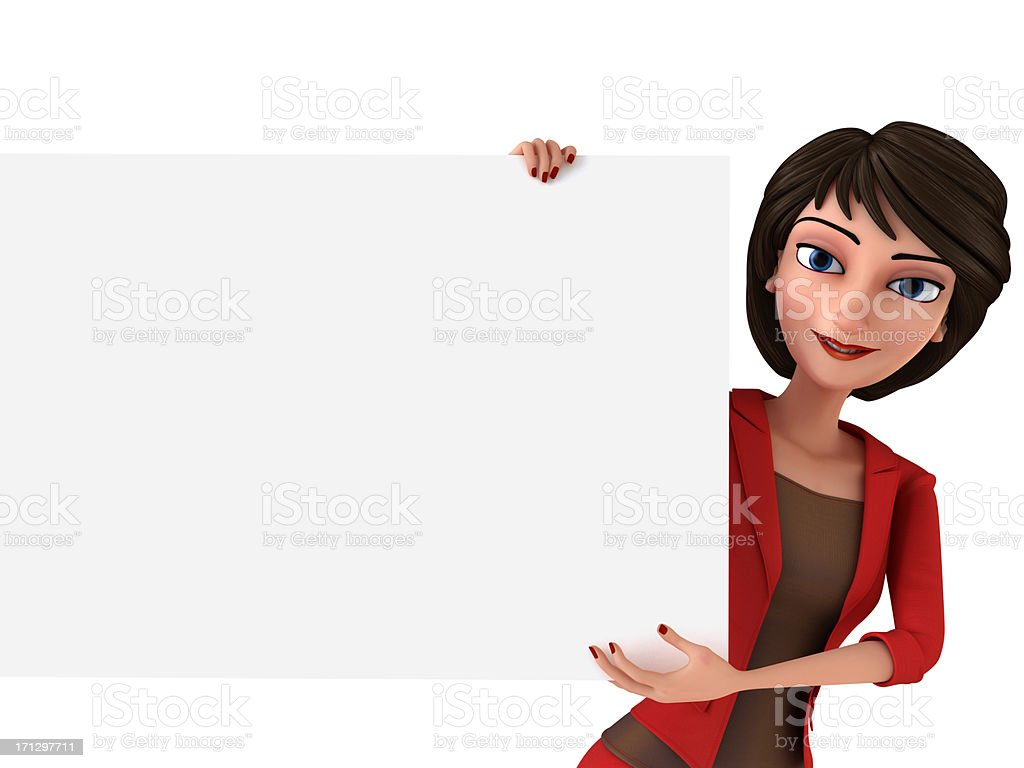 Businesswoman with white board stock photo