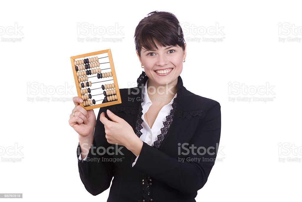 Businesswoman with wooden abacus. royalty-free stock photo
