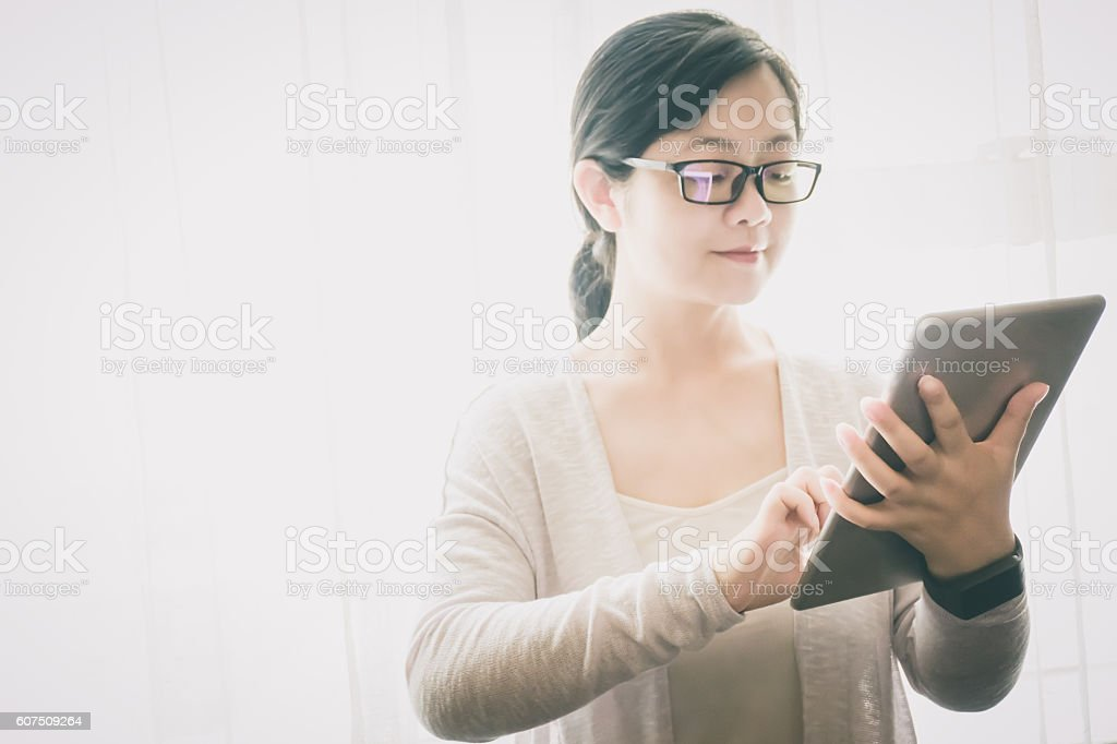 Businesswoman work at hotel room stock photo