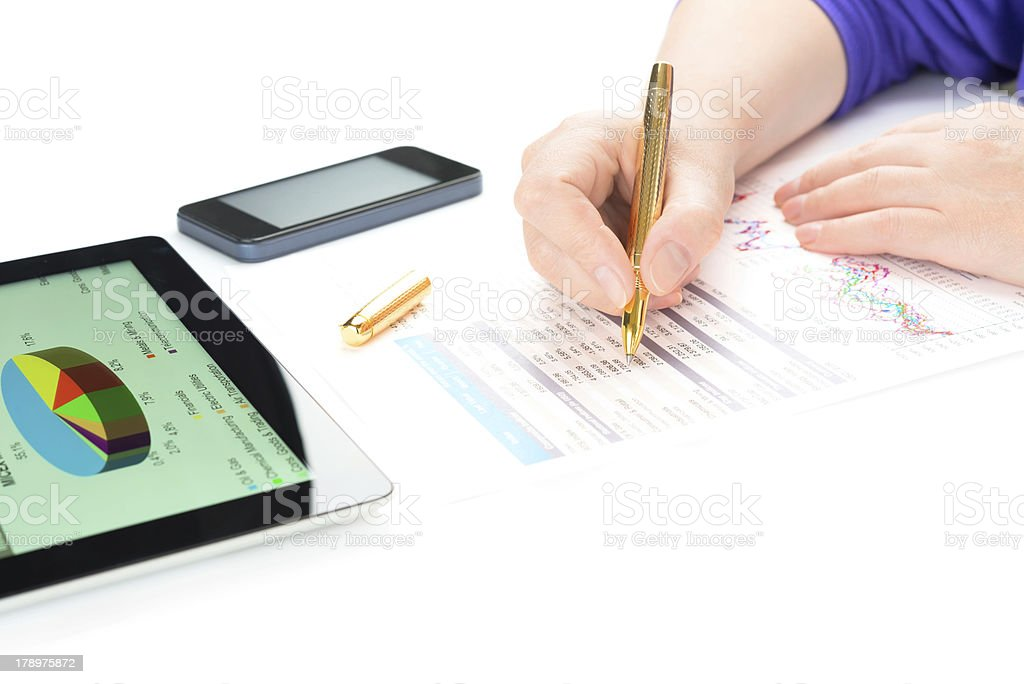 Businesswoman work with documents and tablet pc royalty-free stock photo