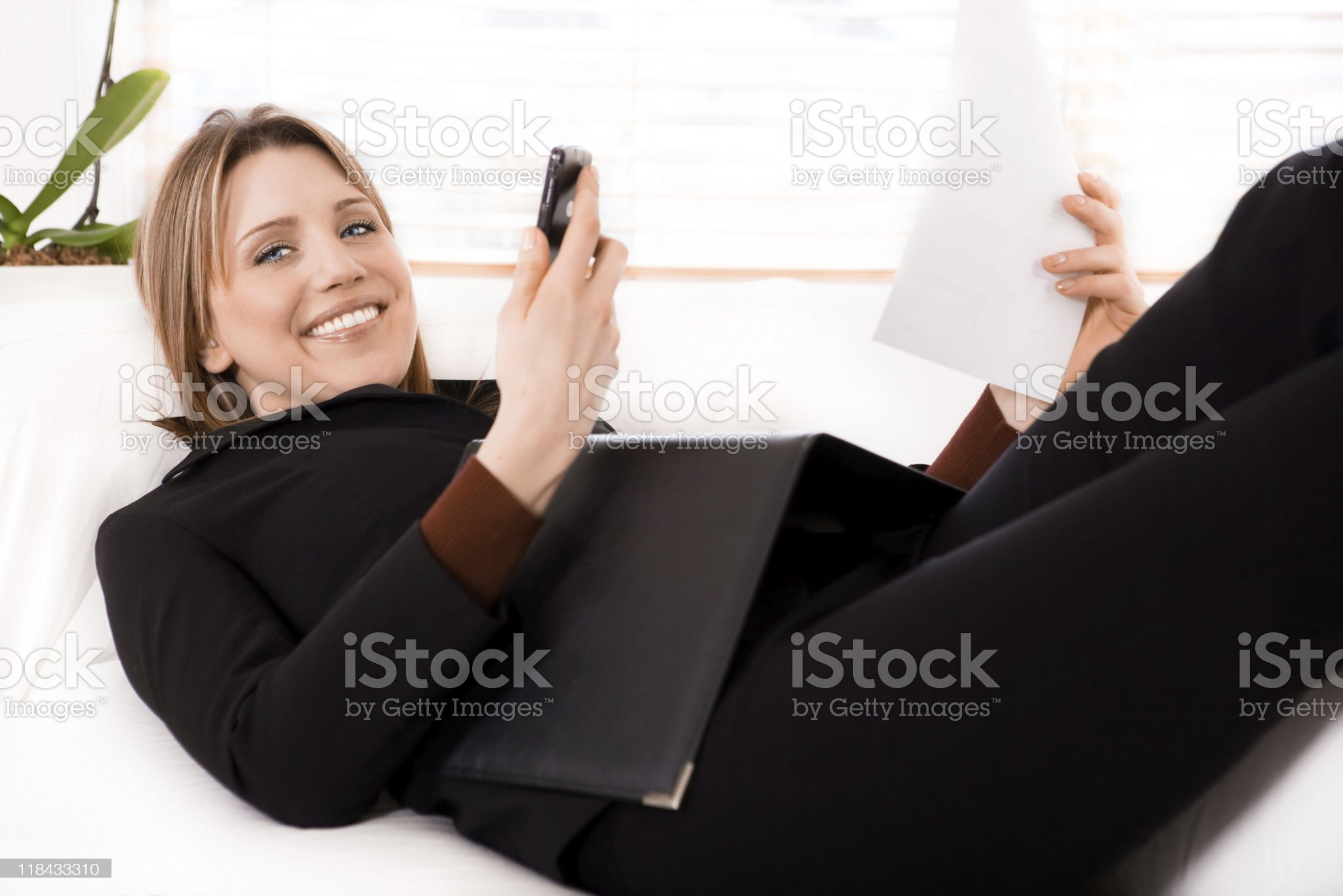 Businesswoman working at home royalty-free stock photo