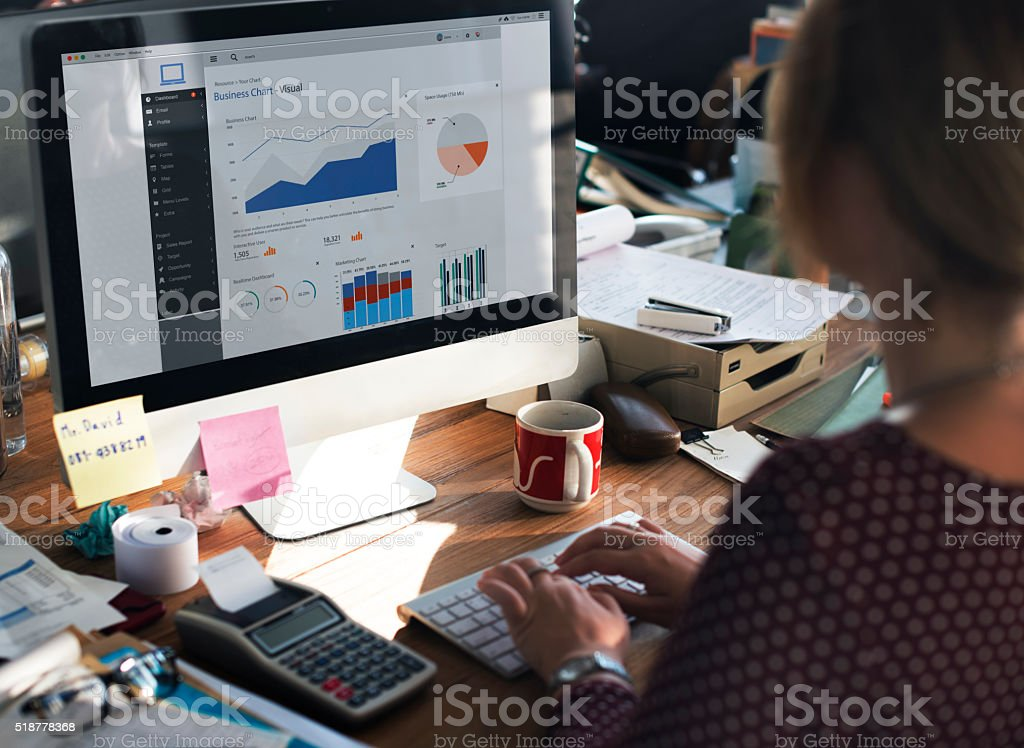 Businesswoman Working Dashboard Strategy Research Concept stock photo