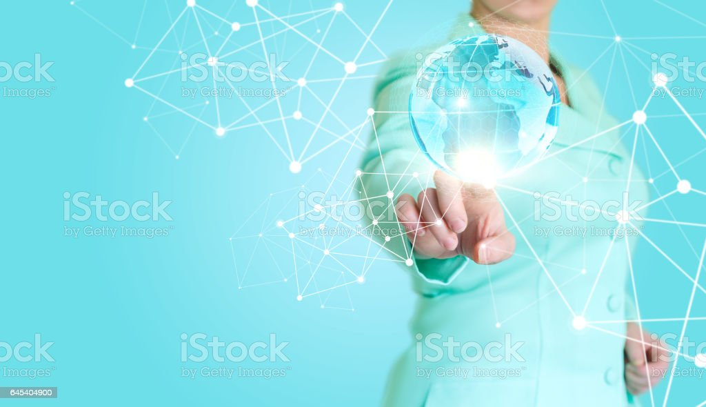 Businesswoman working in a network with a virtual interface. stock photo
