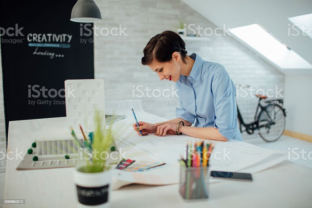 Businesswoman Working In Her Office. stock photo
