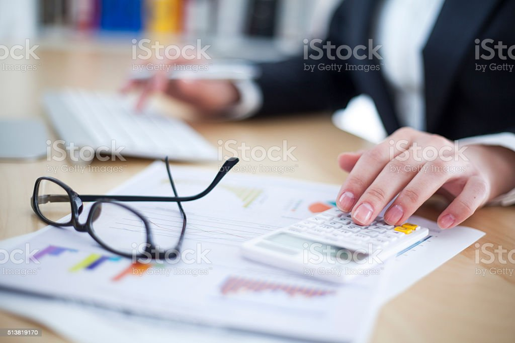 Businesswoman working in office stock photo