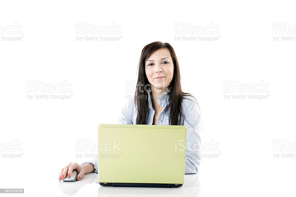 Businesswoman working on computer royalty-free stock photo