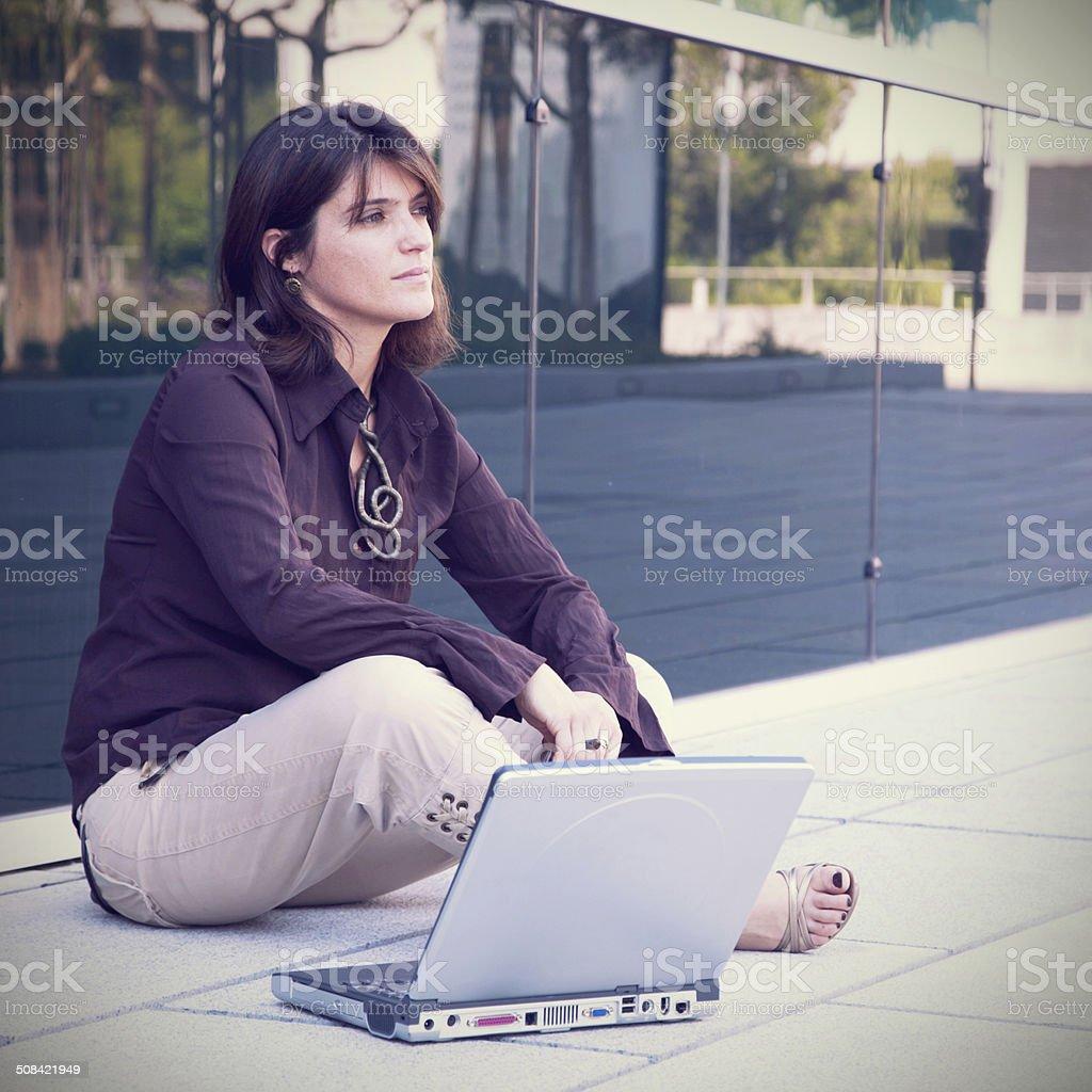Businesswoman working outdoor stock photo