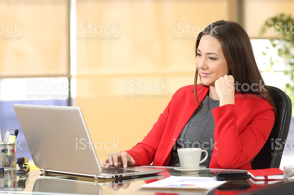 Businesswoman working with a laptop at office stock photo