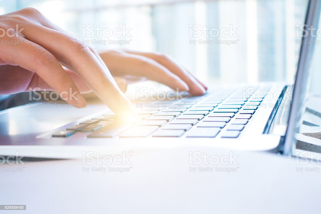 Businesswoman working with laptop stock photo