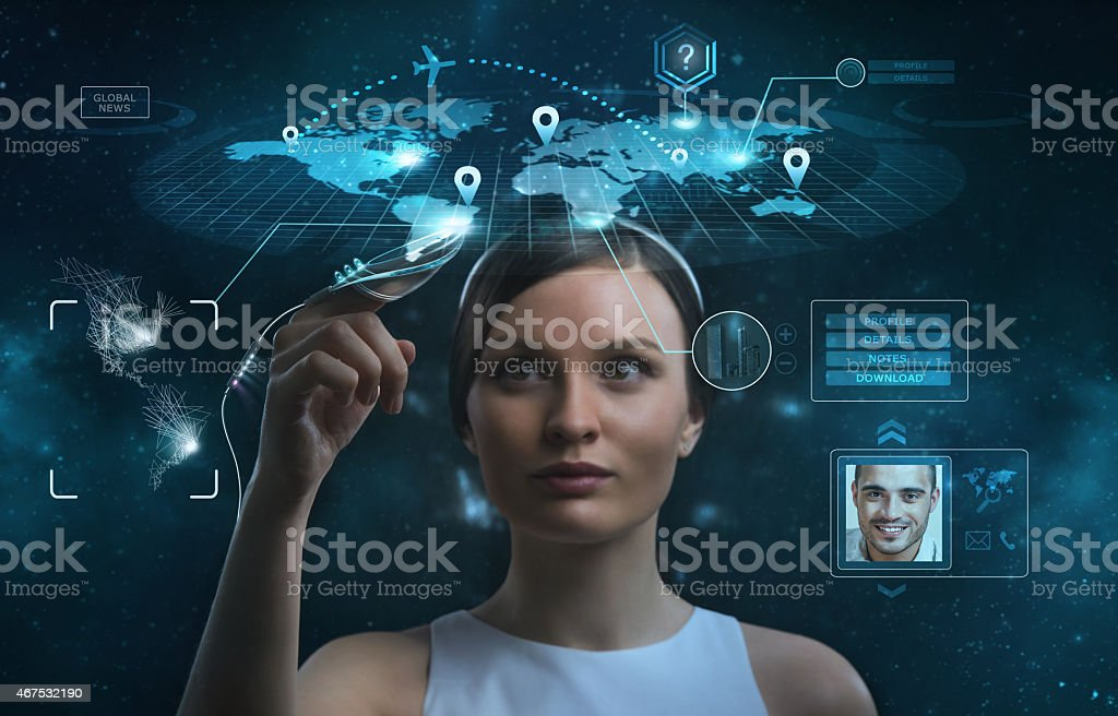 Businesswoman works with huge touch screen stock photo