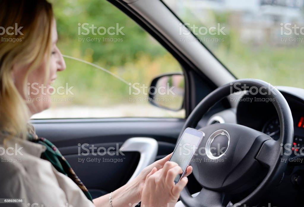 businesswoman writing message stock photo