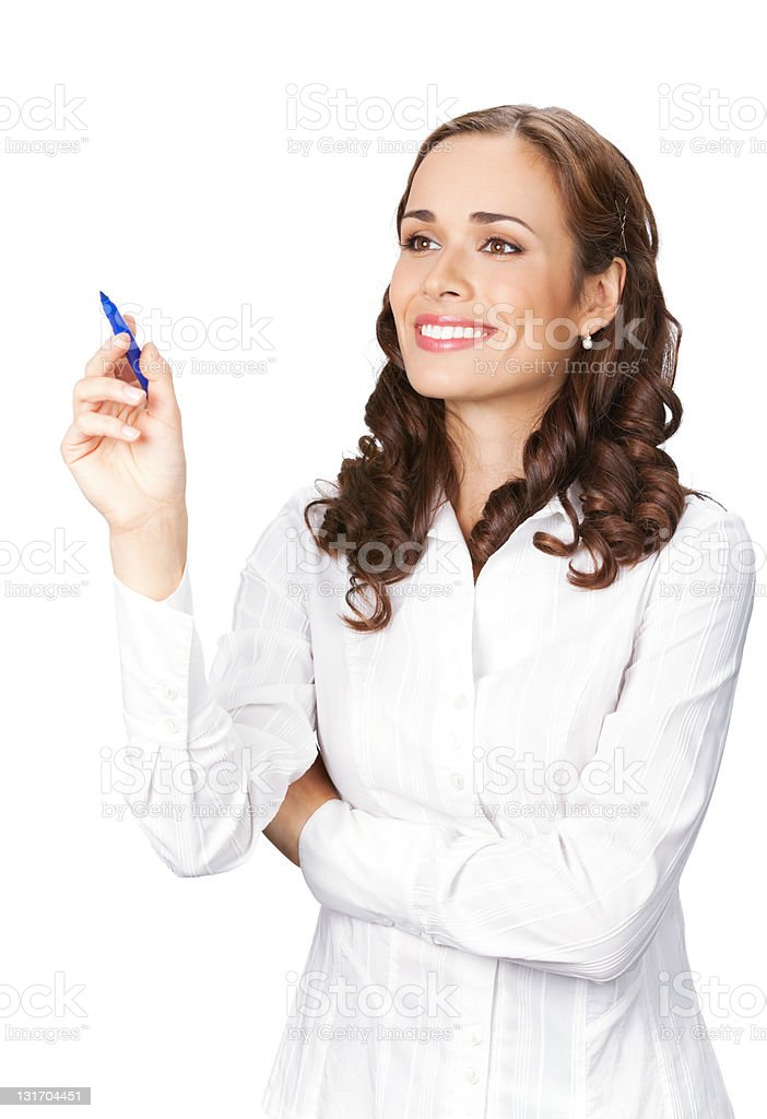 Businesswoman writing or drawing on screen, isolated royalty-free stock photo