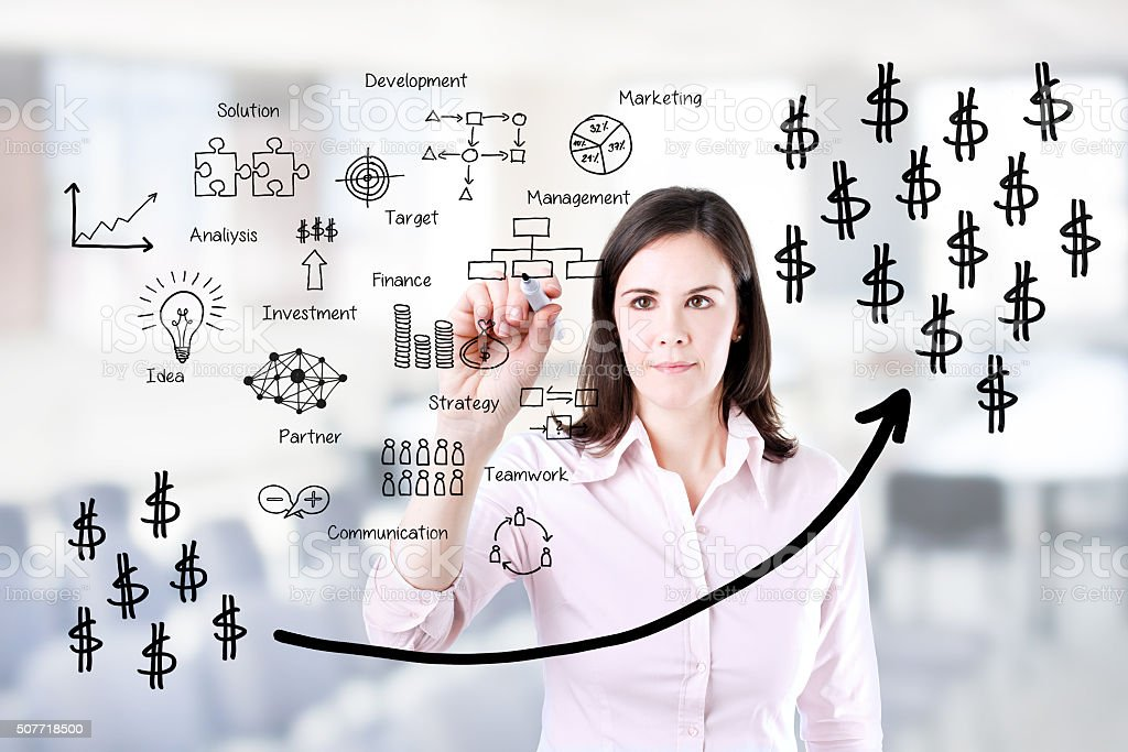 Businesswoman writing profit business process. stock photo