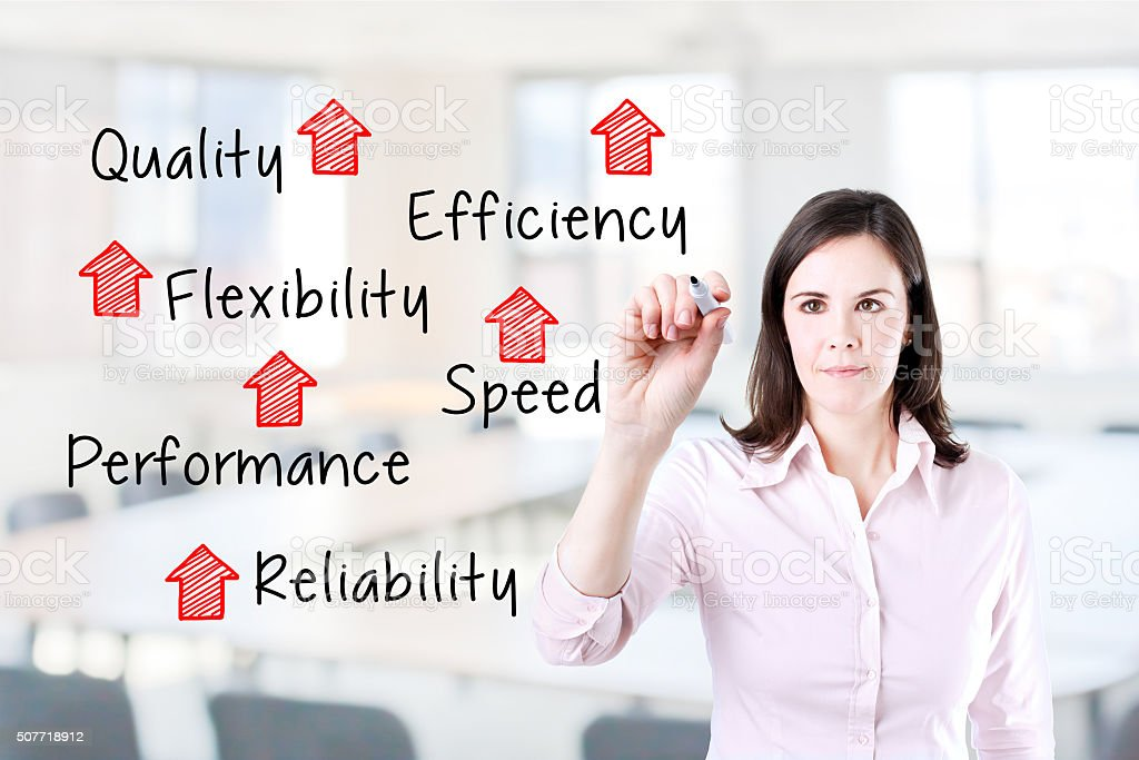 Businesswoman writing rising reliability, quality, efficiency, flexibility, performance and speed. stock photo