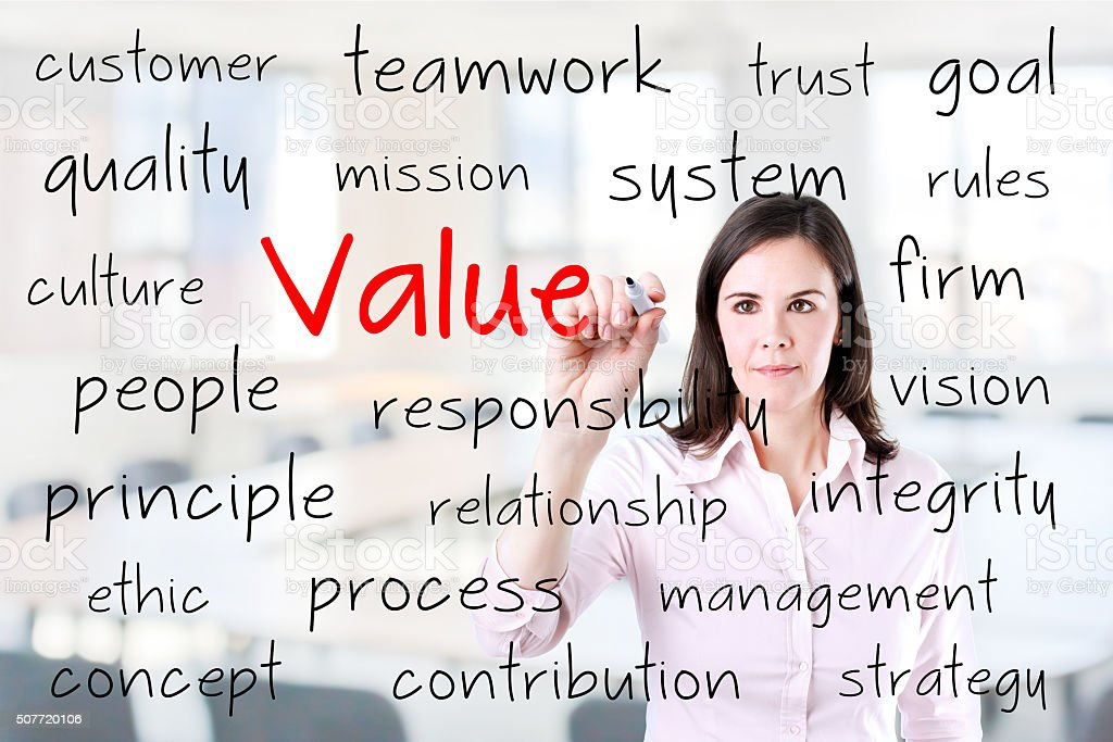 Businesswoman writing value concept. stock photo