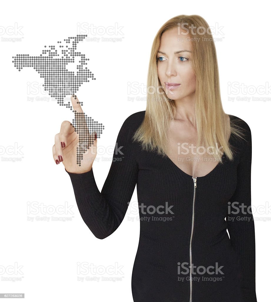 Businesswoman's USA Marketing Plan stock photo