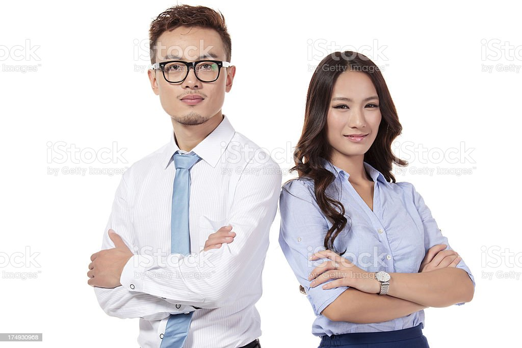 Businesswomen and Businessman Team on white royalty-free stock photo