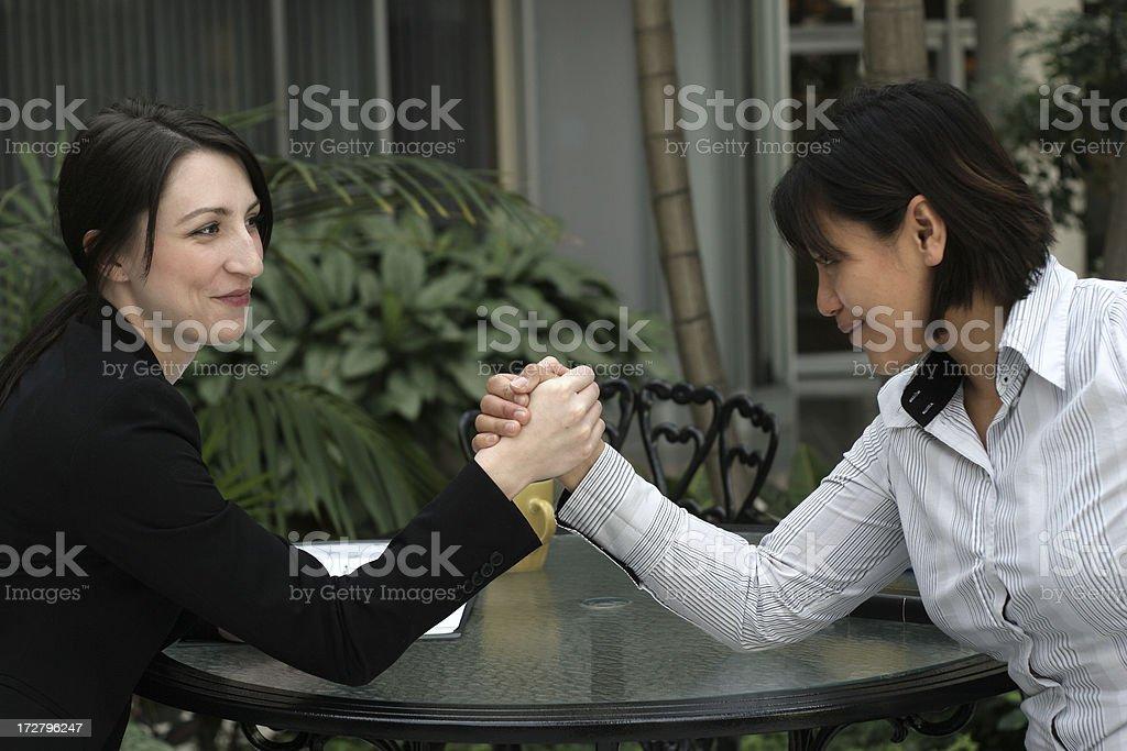 Businesswomen Armwrestling royalty-free stock photo