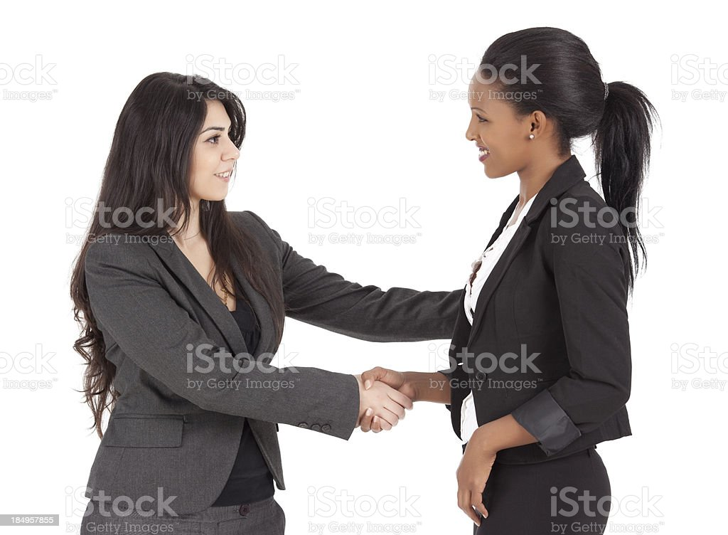 Businesswomen closing a deal by shaking hands. stock photo