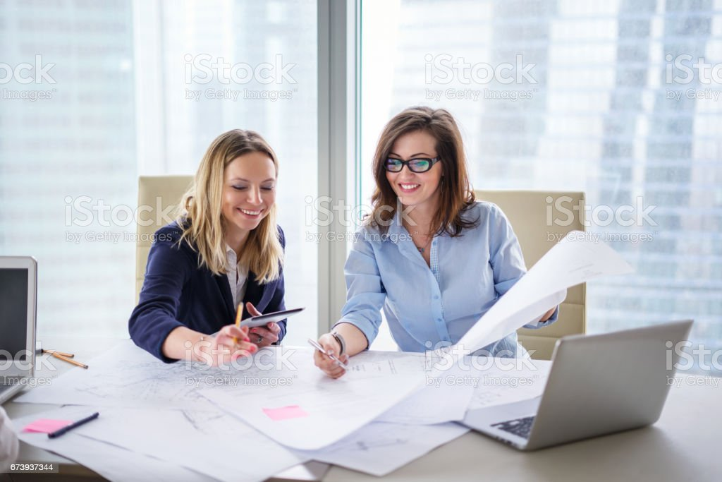 Businesswomen discussing project in an office stock photo
