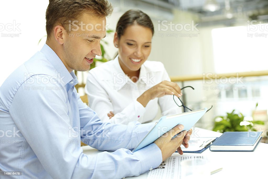 Businesswomen going over test results royalty-free stock photo