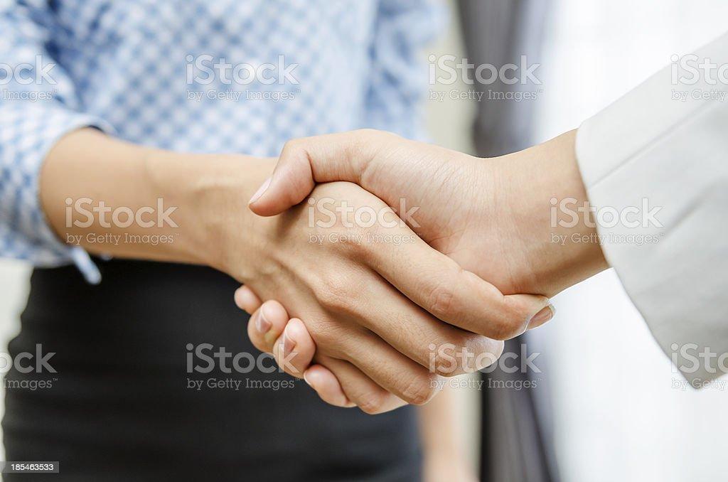Businesswomen handshake stock photo