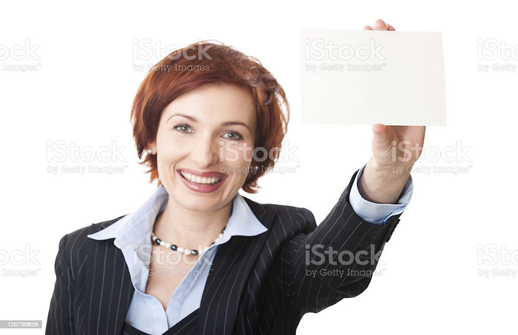 Businesswomen holding a business card royalty-free stock photo