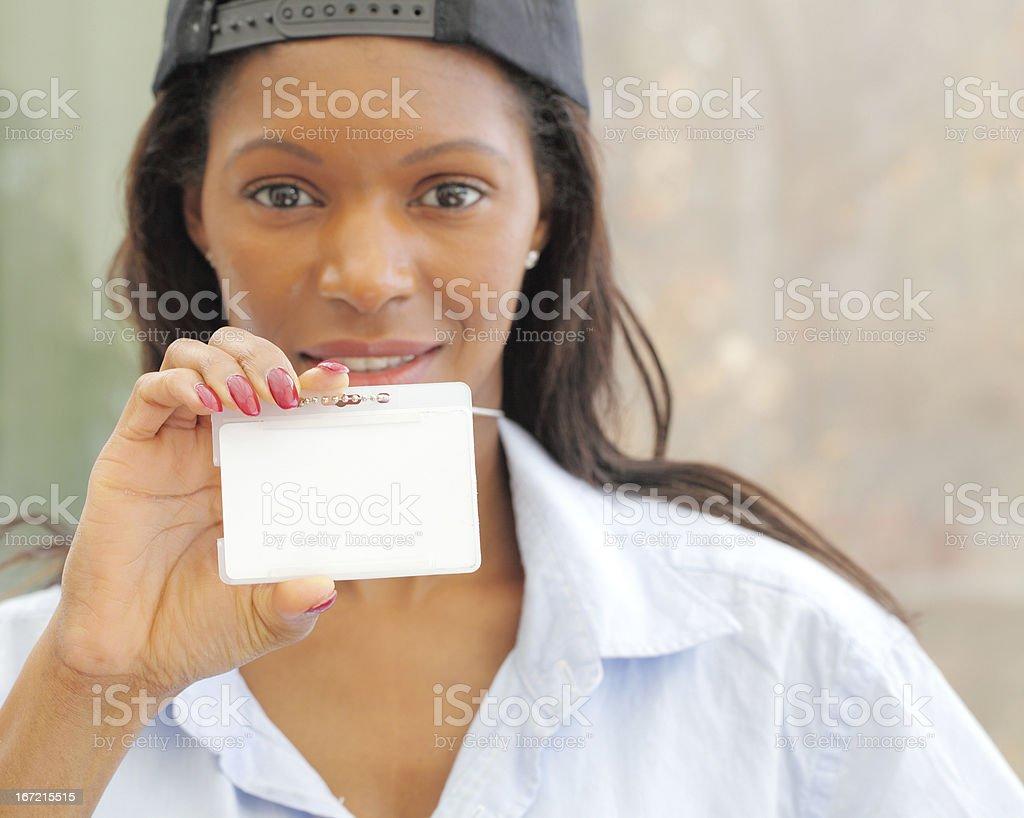 Businesswomen holding blank ID card. royalty-free stock photo