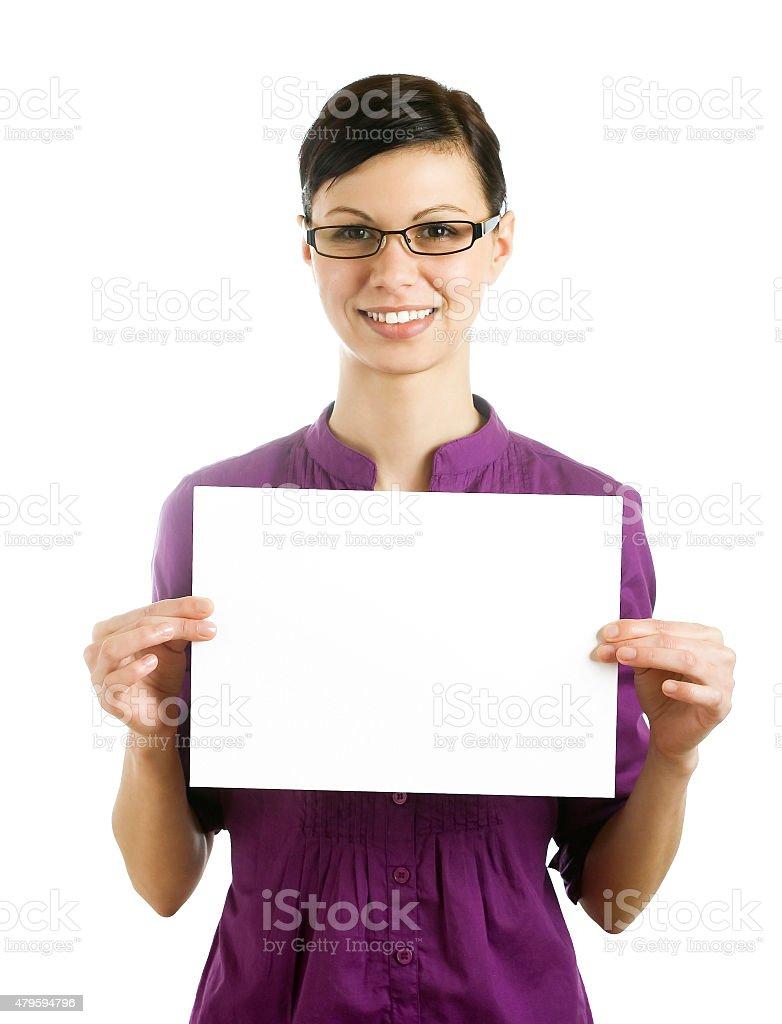 Businesswomen holding blank page stock photo