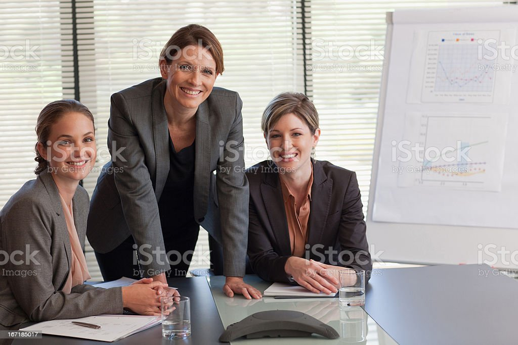 Businesswomen in conference room stock photo