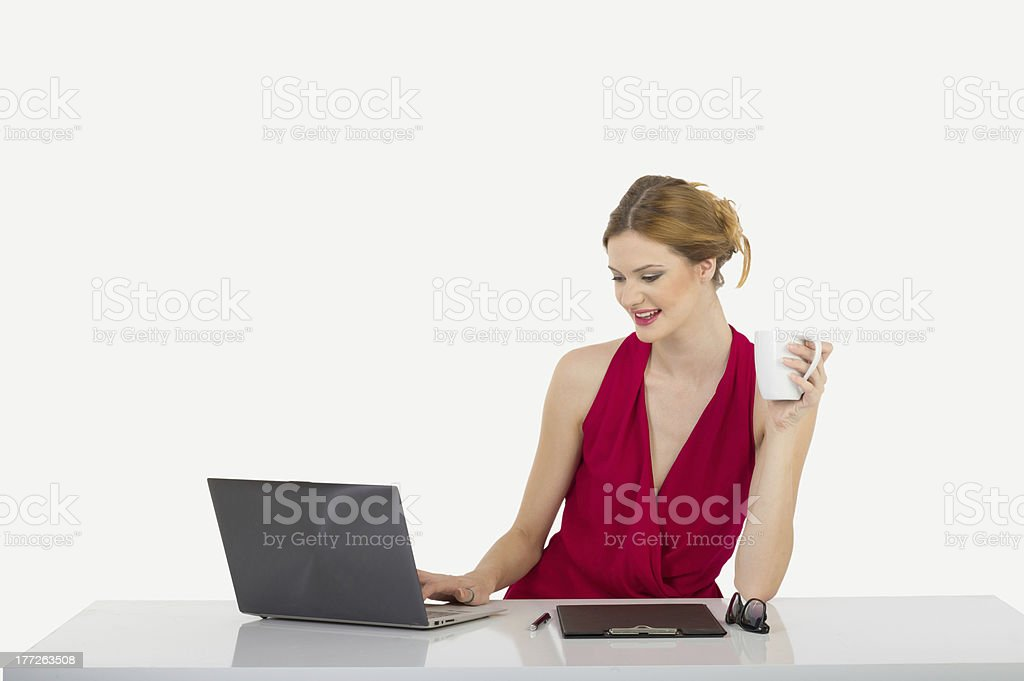 Businesswomen looking computer royalty-free stock photo