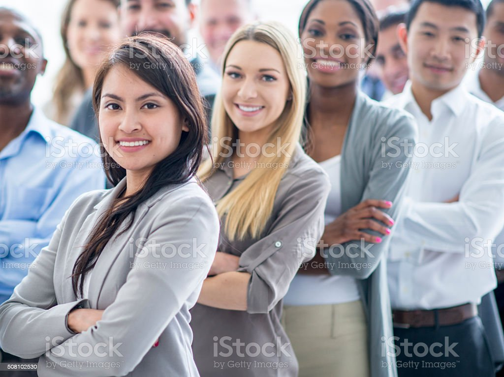 Businesswomen Standing in a Row stock photo