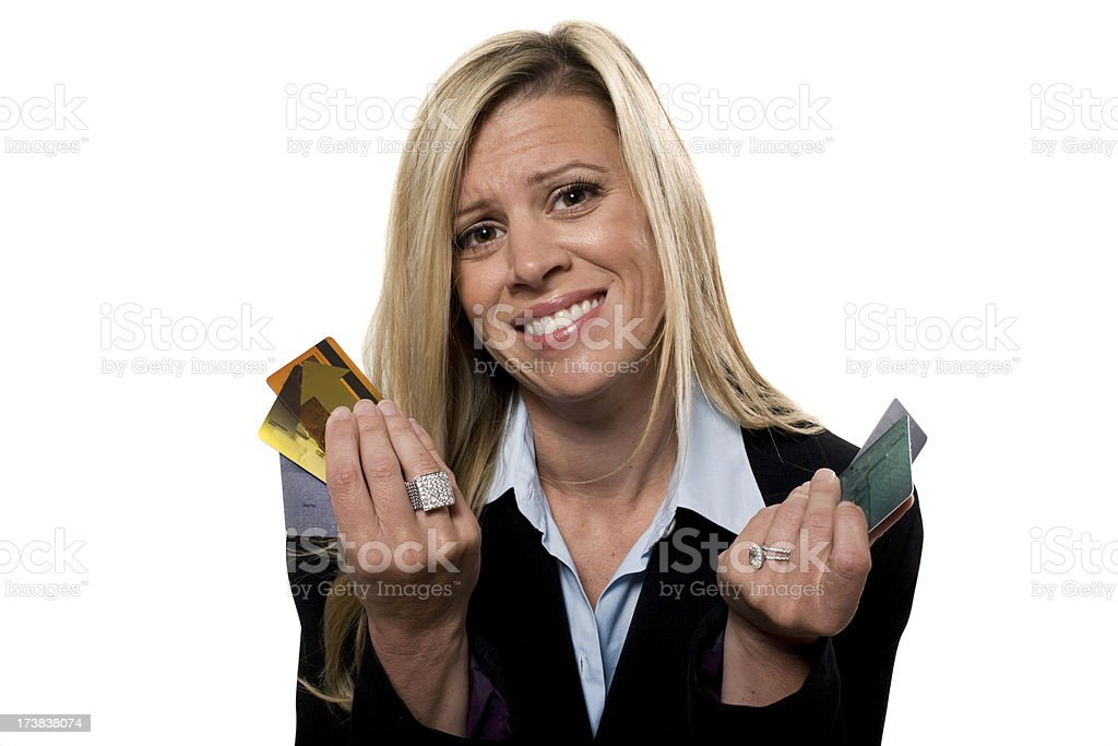 Businesswomen with cards royalty-free stock photo