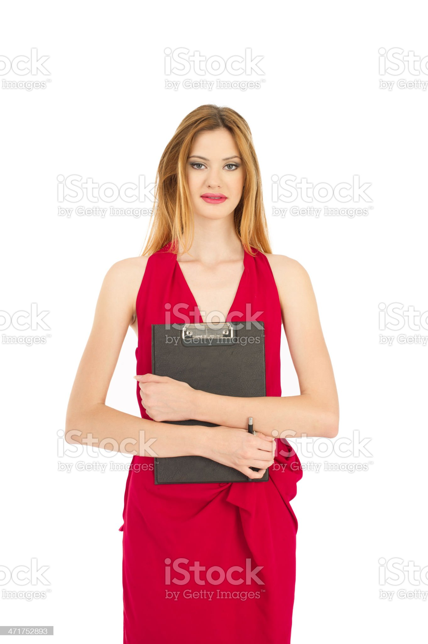 Businesswomen with red dress royalty-free stock photo