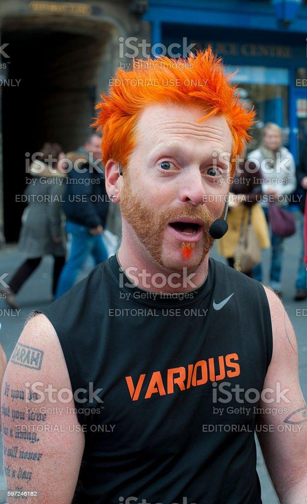 Busker at the Edinburgh Fringe Festival stock photo
