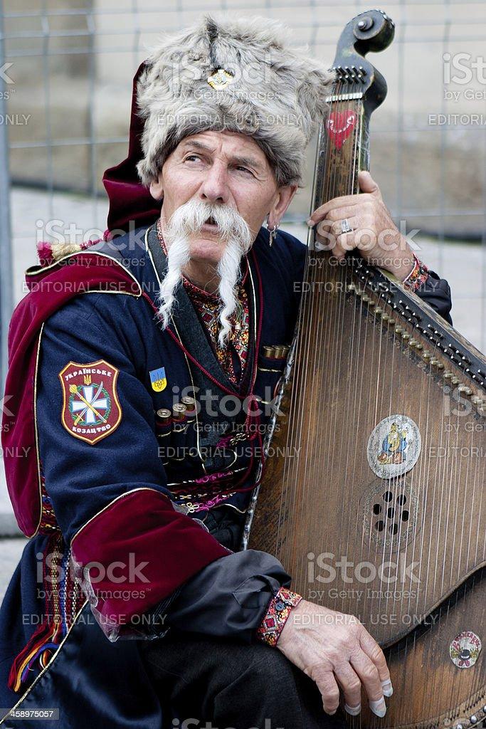 Busker in Krakow stock photo