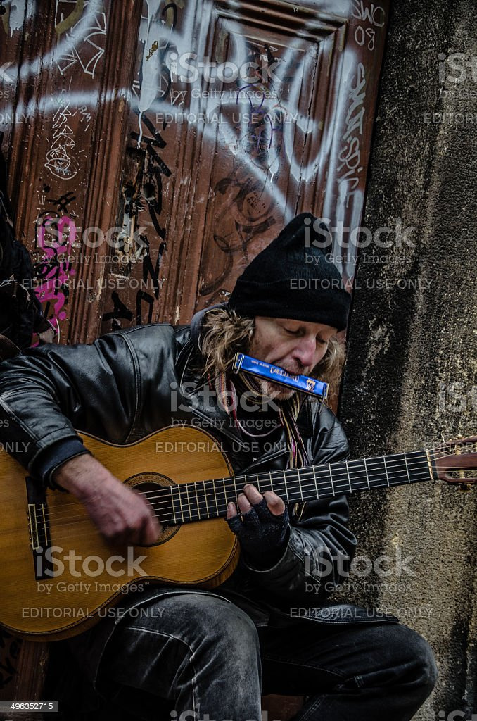 Busker in Prague royalty-free stock photo