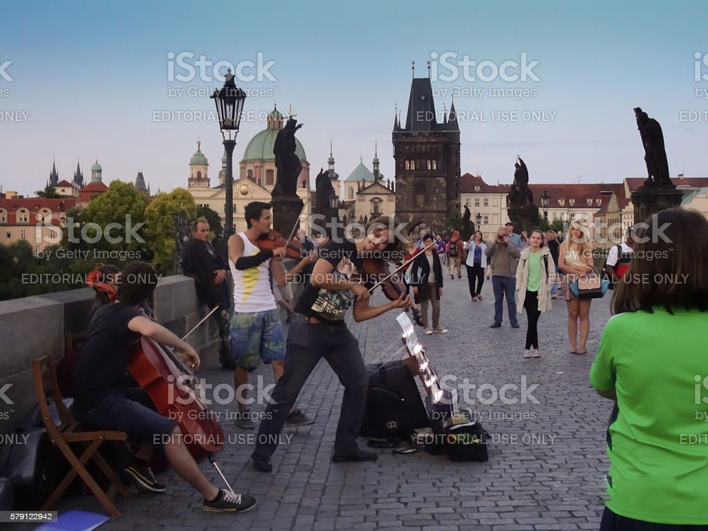 Buskers on Charles Bridge stock photo