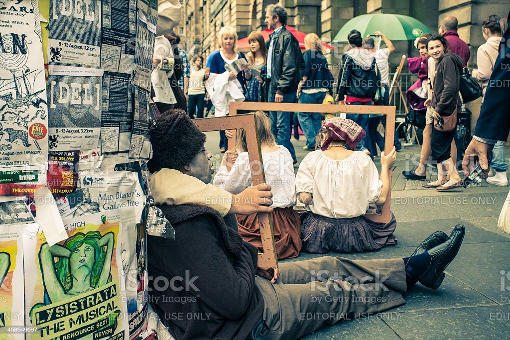 Buskers on Royal Mile, Fringe Festival in Edinburgh stock photo