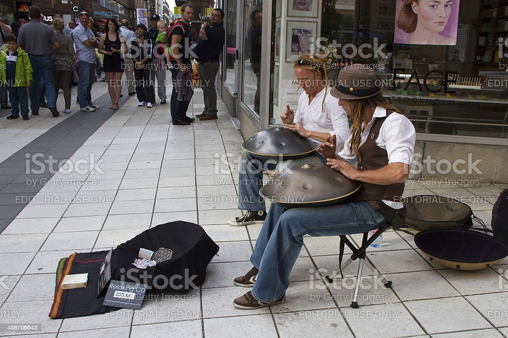 Buskers with hangs royalty-free stock photo