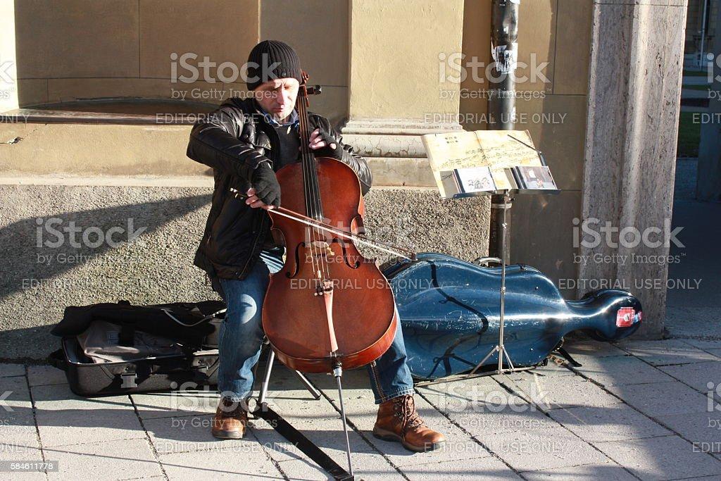 Busking Cellist stock photo